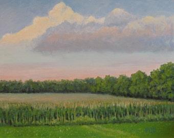Original oil painting, summer cornfield, farm paintings, 11x14