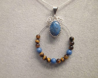 Denim Lapis and Tiger's Eye Necklace