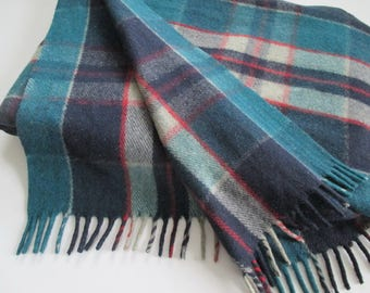Camp Blanket Wool Plaid Teal Blue Navy Grey Red 60 x 90