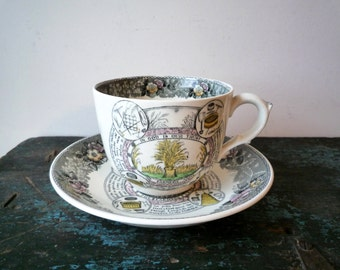 Adams Staffordshire Farmers' Arms Jumbo Breakfast Cup and Saucer Set Made in England, SALE