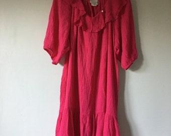20% OFF SALE Gauze Cotton Pink Dress • Cotton Tent Dress • Free Size Flowy Dress