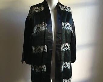 SALE 50s 60s Vintage Black Silk Jacket • Open Jacket • Chinese Silk • Free Size