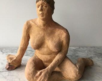Ceramic Figurine, Voluptuous Art Nude Figure Sculpture, Sitting Woman with an Open Mind