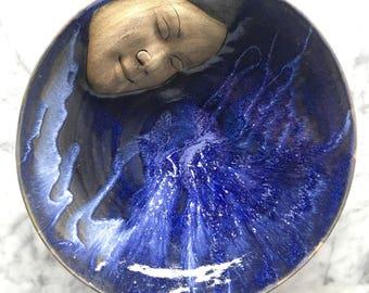 Ceramic Bowl Face Sculpture Roundel, Wall Hanging Serving Platter Goddess Art Bird Bath