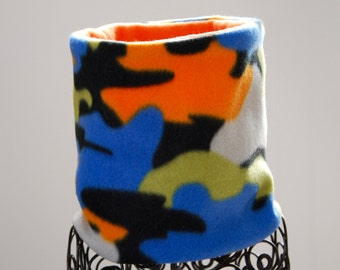 Fleece Neck Warmer / Neck Gaiter / Cowl Scarf -  Orange Blue Green Camo - Reversible - Kids or Adult Sizes