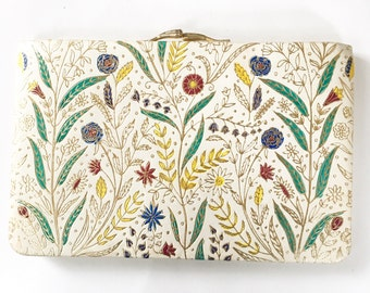 Vintage 50s Clutch, Leather Wallet, Ornate Design, Evening Bag