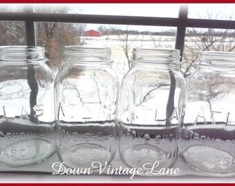 4 Clear Vintage ATLAS Strong Shoulder Mason Jars Quart Size Vintage Jars
