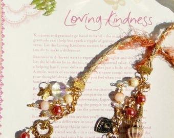 Beaded Silk Charmed Bookmark - Enchanted Page Keeper - Hearts - Book Lover - Gift
