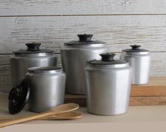 vintage canister set - brushed aluminum - Kromex
