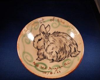 Hand-Painted German Angora Rabbit Clay Pottery Spinning Fiber Arts, Yarn Bowl