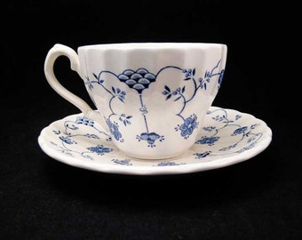 Myott Meakin Made In England Finlandia Blue And White Tea Cup & Saucer Set
