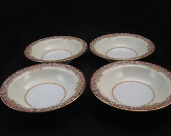 Vintage Noritake Occupied Japan Harmony Red Fruit/Dessert Bowls (4)