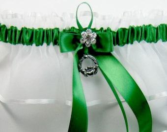 Irish wedding garters Emerald green Irish Wedding garter claddaugh keep Garter