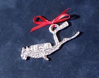 Pewter Scuba Diver Ornament