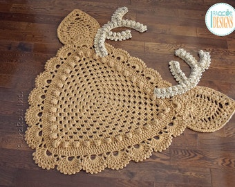 NEW PATTERN Blizzard the Reindeer Rug or Corner Doily Rug PDF Crochet Pattern with Instant Download