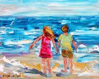Print of Beach kids made from image of past oil painting by Karen Tarlton - impressionistic palette knife art