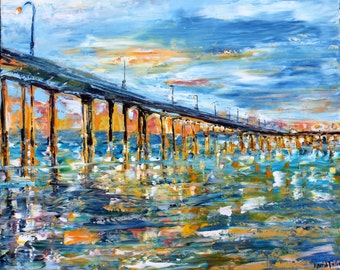 Oil painting San Diego Ocean Beach Pier at Dusk original palette knife impressionism on canvas 24x20 fine art by Karen Tarlton