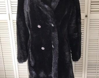 Vintage Black/Dark Brown Faux Mink Winter Coat Size ~ 12