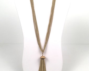 Vintage 1960s Gold Tassel Necklace