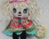 Primitive Folk Art Shabby chic Raggedy Annie doll APRIL home decor ooak cute Handmade  collectible antique fabrics Spring Easter