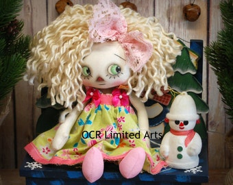 ON SALE Raggedy  Annie- cute ooak primitive folk art home decor collectable  Holiday Christmas