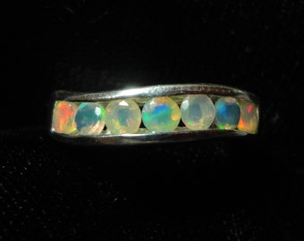 opal ring faceted opal wedding ring aaa quality solid opal inset wedding band anniversary ring or - Opal Wedding Ring