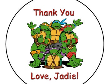 Ninja Turtles --  2 inch round stickers -- 20 stickers, as pictured above --  FREE PERSONALIZATION.