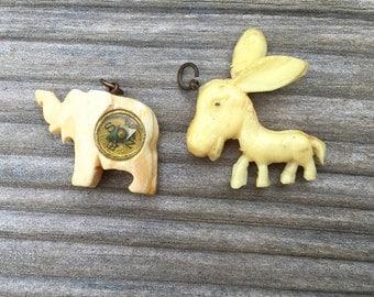 Vintage Bone Elephant Celluloid Donkey Charms Compass Cracker Jack Political Collectibles