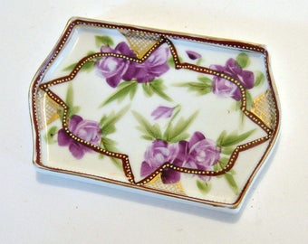 SALE - Handpainted Nippon Dish, Vintage Japanese Trinket Dish, Nippon Soap Dish, Hand Painted Purple Rose Shallow Dish, Nippon Rink Dish