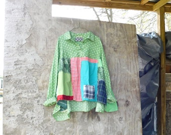Upcycled Shirt, Wearable Art, Recycled Shirt, Repurposed Clothing, Fun Clothes, Green, Sustainable Clothing, Polkadot Tunic, Patchwork