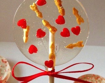 Love Themed Lollipops- Hard Candy Lollipops- Bridal Shower favors- Wedding Favors- Birthday Lollipops- Engagement Lollipops