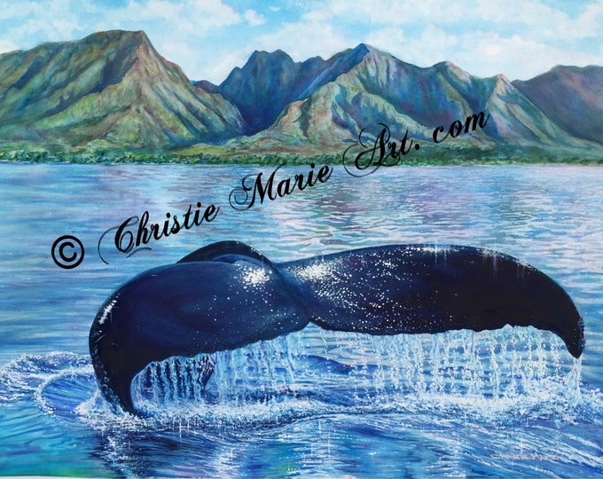 Original Watercolor Painting of Humpback Whale in front of Lahaina, Hawaii Fine Art, genuine gemstone paints used by Artist Christie Marie