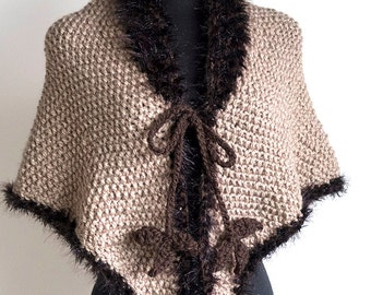 Outlander Inspired Fichu Shawl Beige Light Taupe Color Wool Acrylic Knitted Wrap Stole Poncho Cape with Faux Fir Trim and Brown Leaf Ties