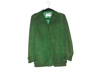 Kelly Green Suede Jacket Womens Ladies- Vintage Californian - California Sportswear Company LA