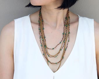 Jade Layered Six Strand Woven Necklace