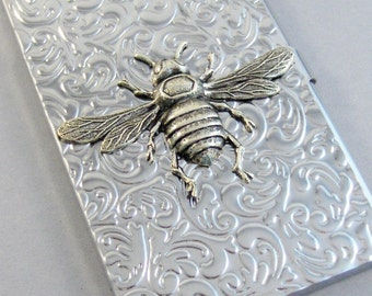 Silver Bee Business Card, Case,Bee,Queen,Cigarette Case,Silver Case,Antiqued Silver Large Card Holder, Gothic ,Victorian, Steampunk Accessor