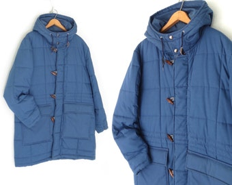 Vintage Parka Jacket * 80s Quilted Duffle Coat * Blue Anorak Jacket * Hooded * Medium