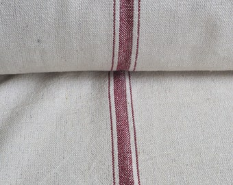 Grain Sack Fabric by the Yard- Three Stripe Red