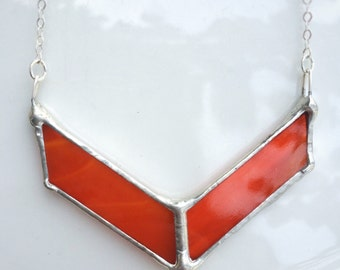 Russet Orange Stained Glass Chevron Necklace