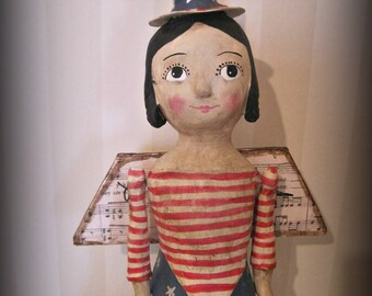 Patriotic Angel Americana patriotic paper mache doll mixed media sculpture, vintage style doll
