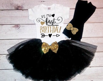 1st Birthday Girl- 1st birthday outfit-Black and Gold outfit-Black and Gold Tutu- Cake Smash-1st Birthday Girl Outfit- First Birthday Outfit
