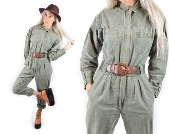 VTG 70s Forest Green Workman Jumpsuit Overalls Dungaree Belted Military Boiler Carpenter Romper Safari High Waist Jumper Vintage 80s 90s