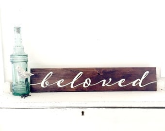 Beloved - Reclaimed Barn Wood Sign- Typography Sign-100+ year old Barn Wood-Wall Decor