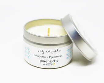 Eucalyptus Peppermint Essential Oil Soy Candle in 4 Oz. Travel Tin