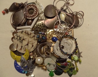 Vintage Jewelry Destash.  Gypsy Themed Lot of Jewelry Findings. Mostly Vintage. Drops, Rings, Large Pendants D7