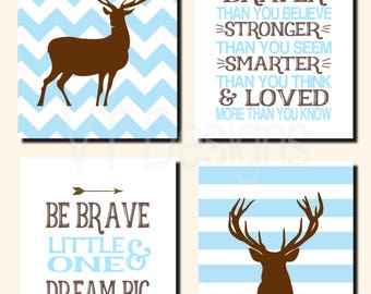 Deer Nursery Art, Woodland  Nursery Art, Kids Wall Art, Toddler Boys Room, Be Brave, Dream Big, Always Remember, Set of 4 Prints or Canvas