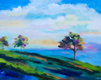 Modern Abstract Cloud Sky Field Original Oil Painting Landscape by Rebecca Croft