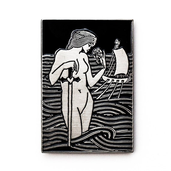 Nude lady with sword pin. Siren enamel pin. Aubrey Beardlsey illustration lapel pin. Antique silver.