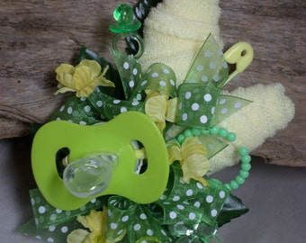 Yellow Washcloth Flower/Green Accents Baby Shower Corsage - Pin On Floral Corsage - Pacifier and  Washcloths corsage - Baby Shower Items