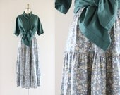 S A L E floral linen skirt / l